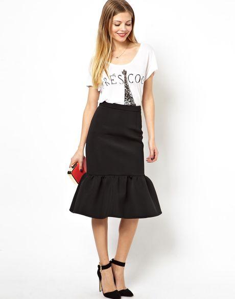asos pencil skirt with peplum hem in black lyst
