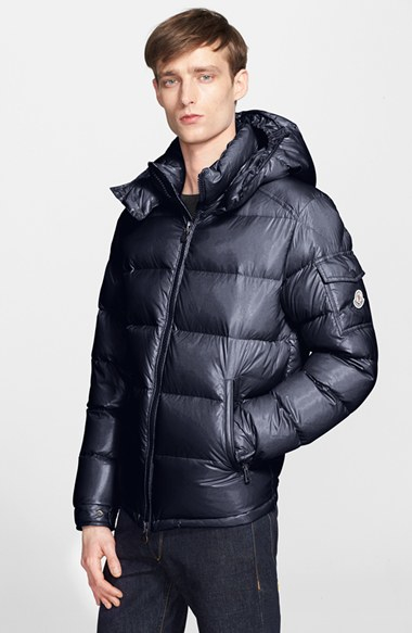 Moncler Maya Lacquered Down Jacket In Blue For Men Navy