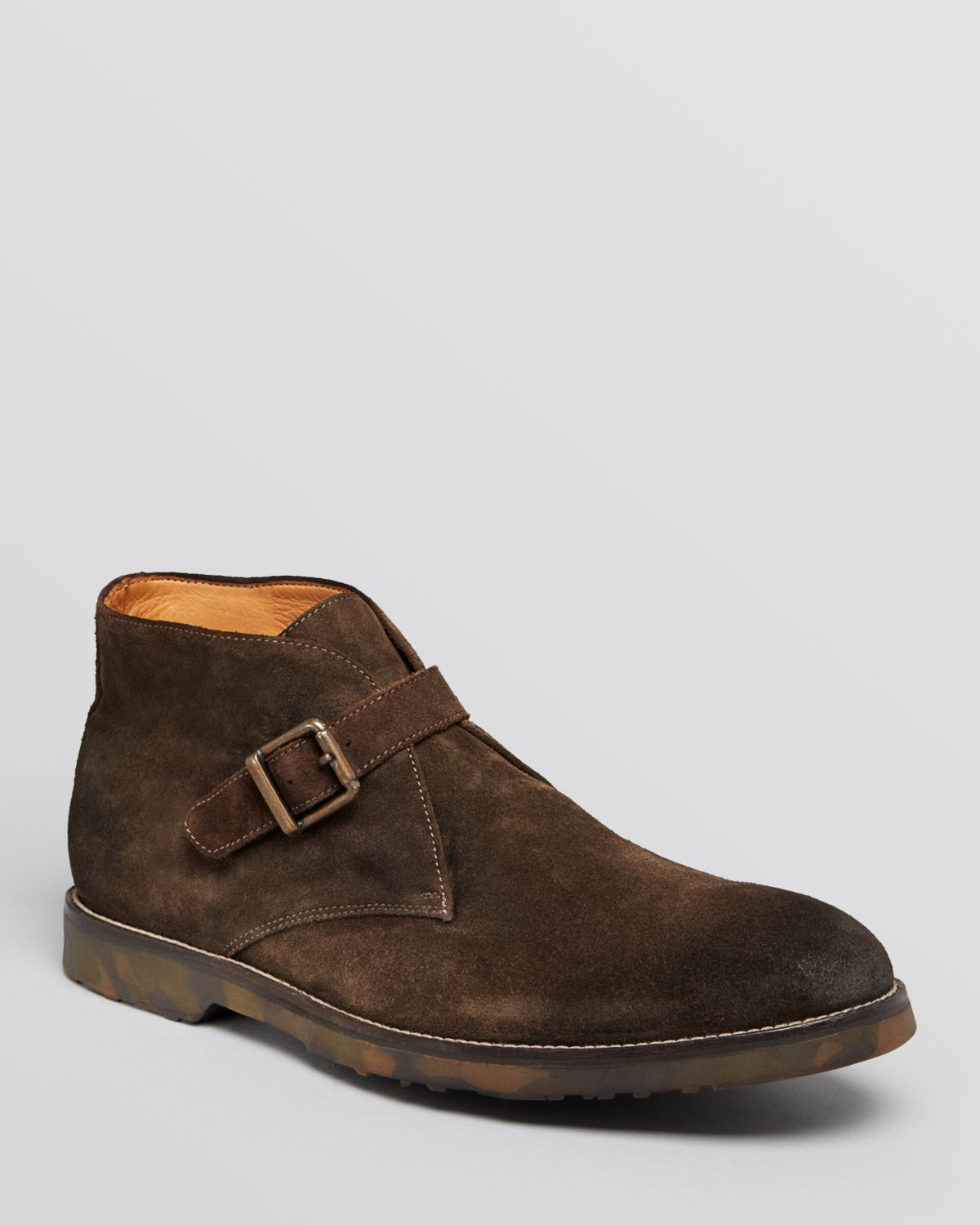to boot rafael buckle chukka boots in brown for lyst