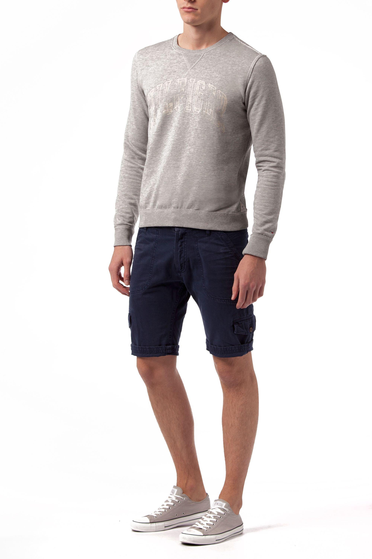tommy hilfiger hunter print crew neck pull over jumper in gray for men mid grey marl lyst. Black Bedroom Furniture Sets. Home Design Ideas