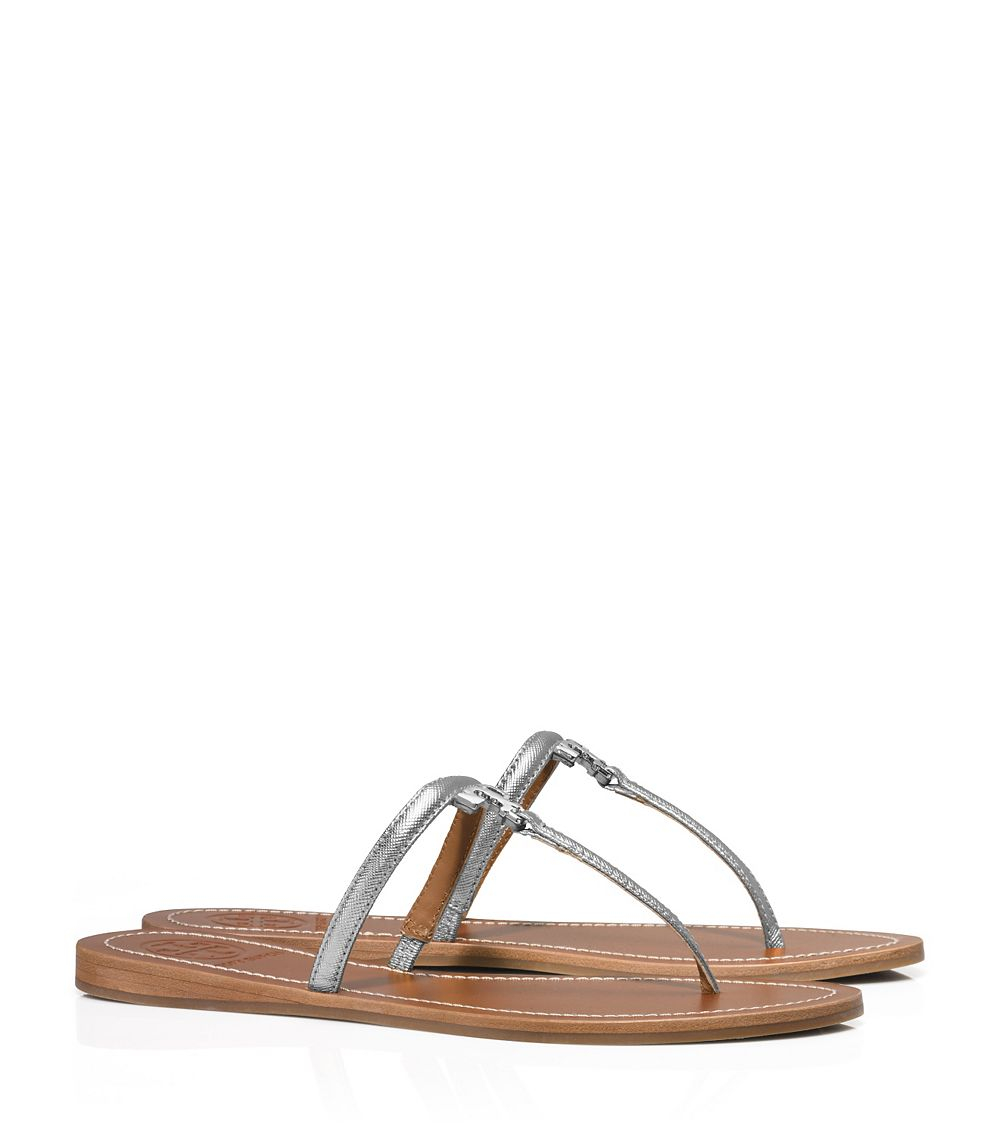 893045b468fc Lyst - Tory Burch T Logo Metallic Flat Thong Sandal in Metallic