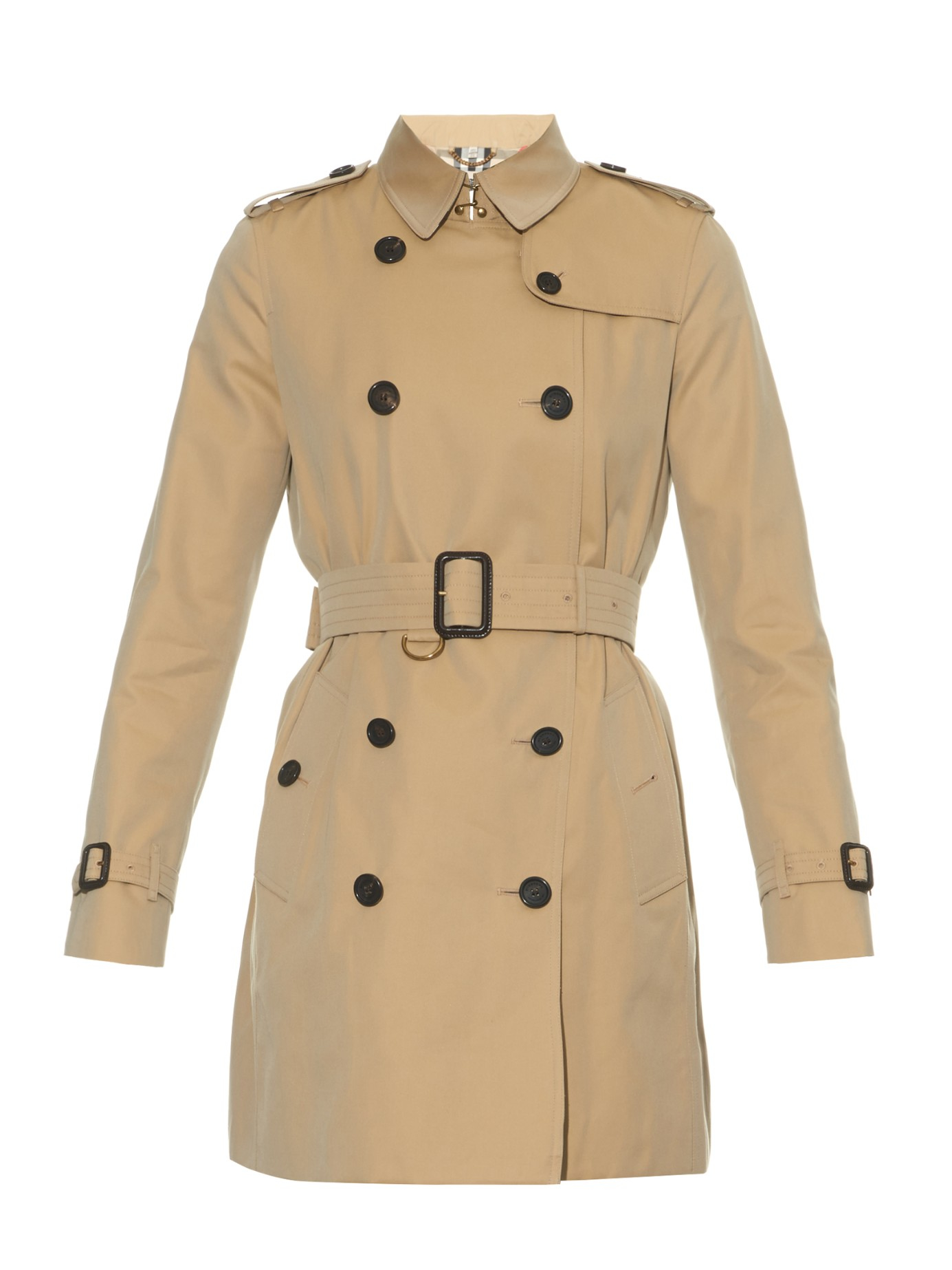 Womens Burberry Kensington Mid Trench Coat, Size 10 US 44 IT - Beige