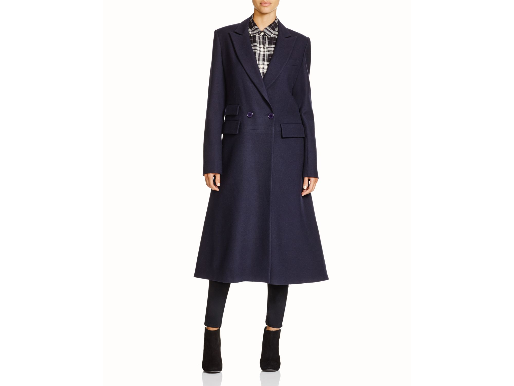 ab2df43c268 Lyst - DKNY Flared Wool Coat in Blue