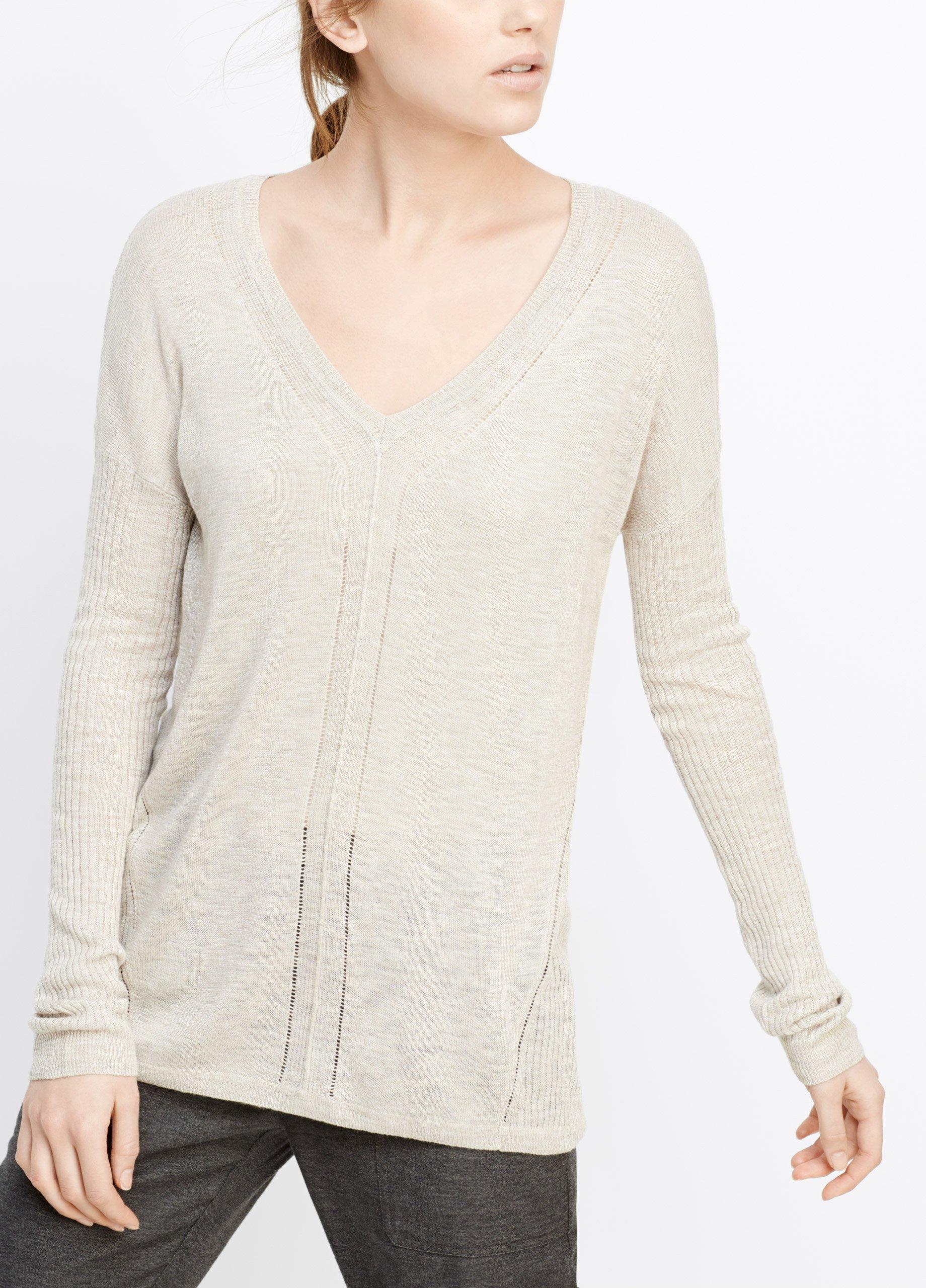 Vince Linen Blend V Neck Sweater With Ladder Stitch Inset
