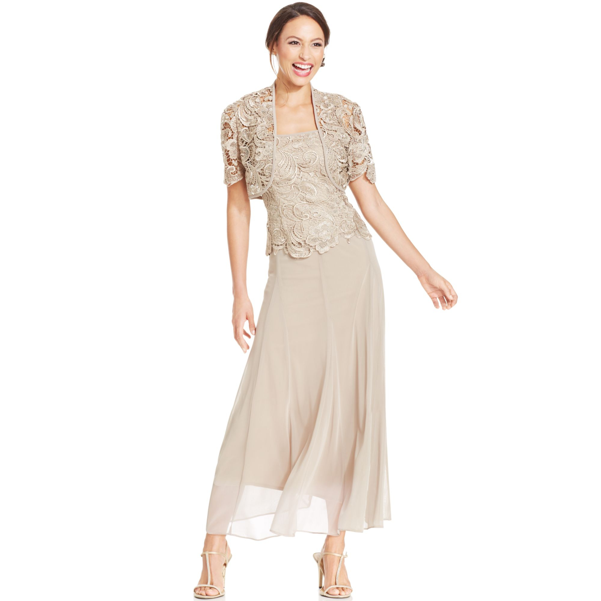 Lyst - Alex Evenings Lace Chiffon Dress and Jacket in Natural