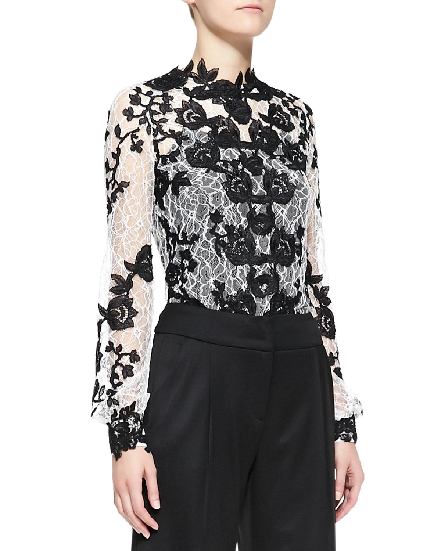 Lyst Oscar De La Renta Longsleeve Embellished Lace Blouse