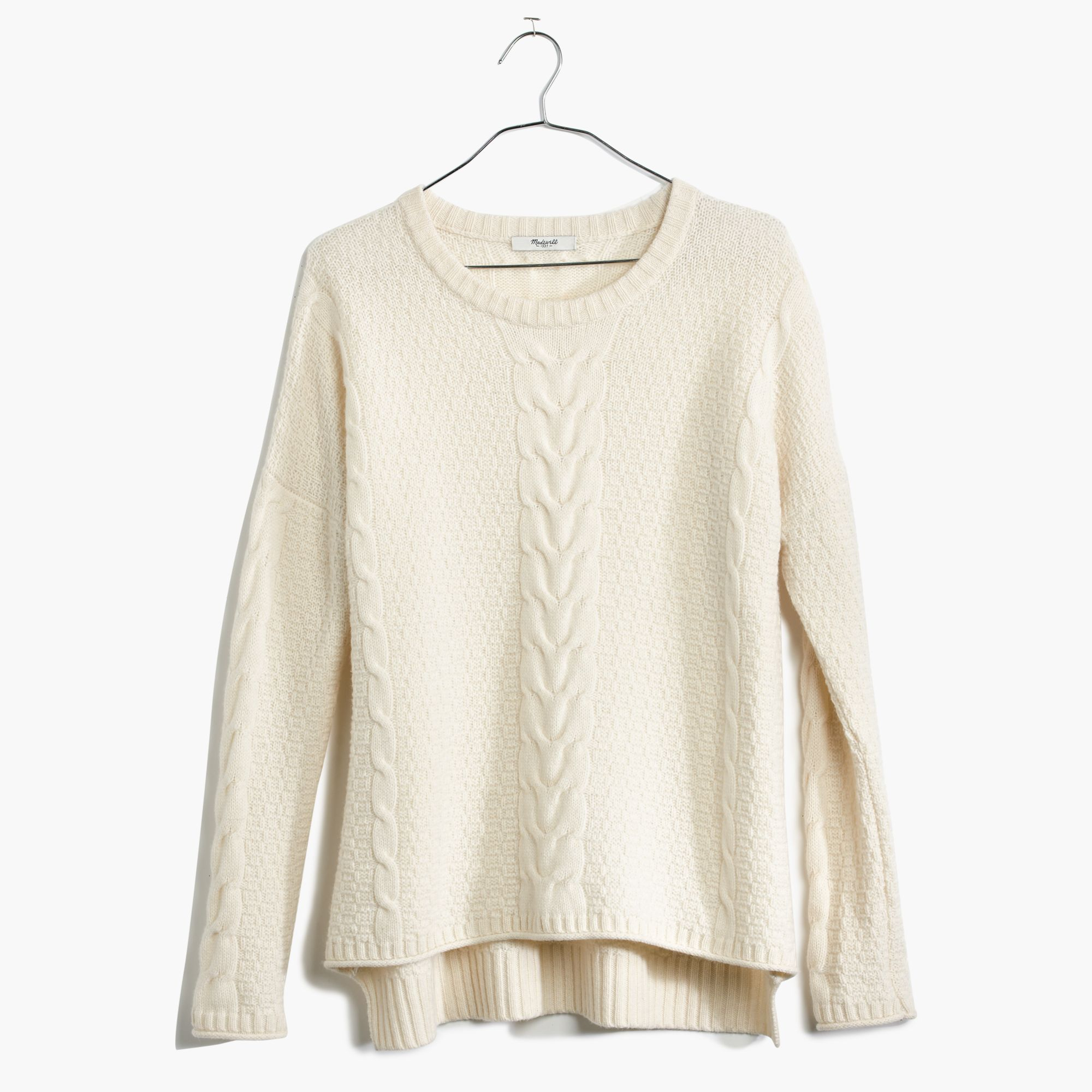 Madewell Easy Cable Pullover Sweater in White | Lyst