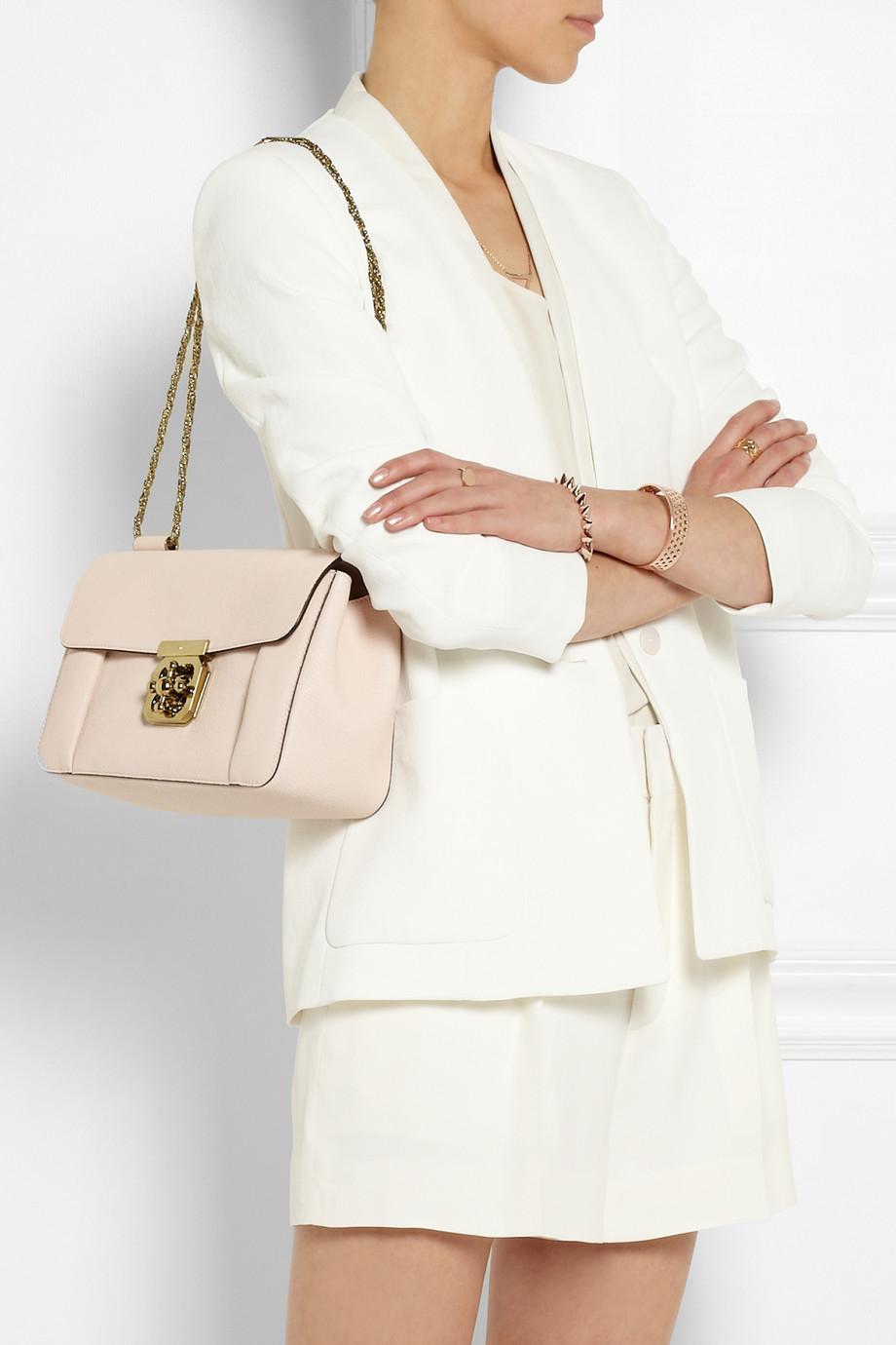 Chlo¨¦ Elsie Medium Texturedleather Shoulder Bag in Pink | Lyst