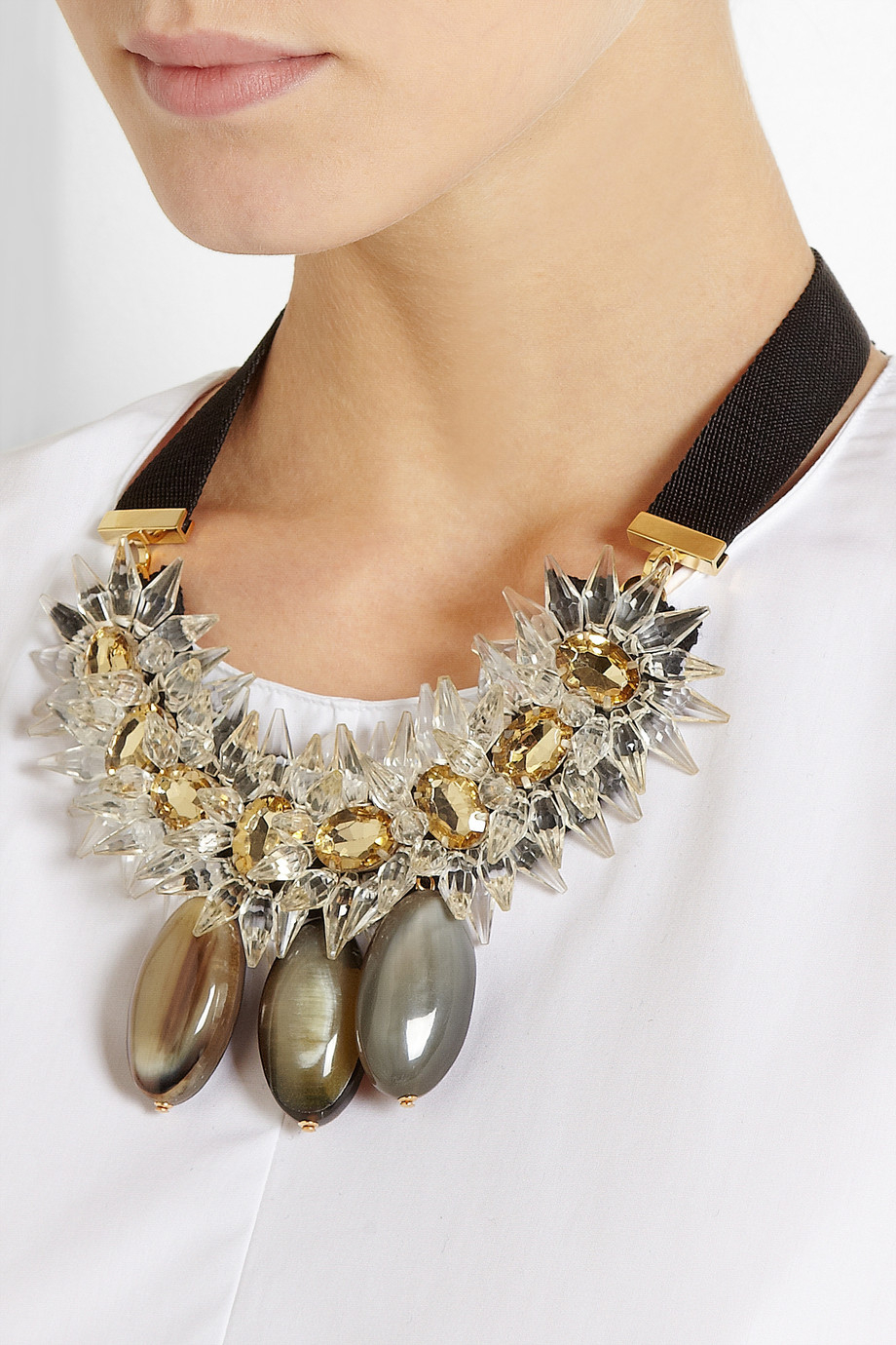 Lyst Marni Crystal And Horn Necklace