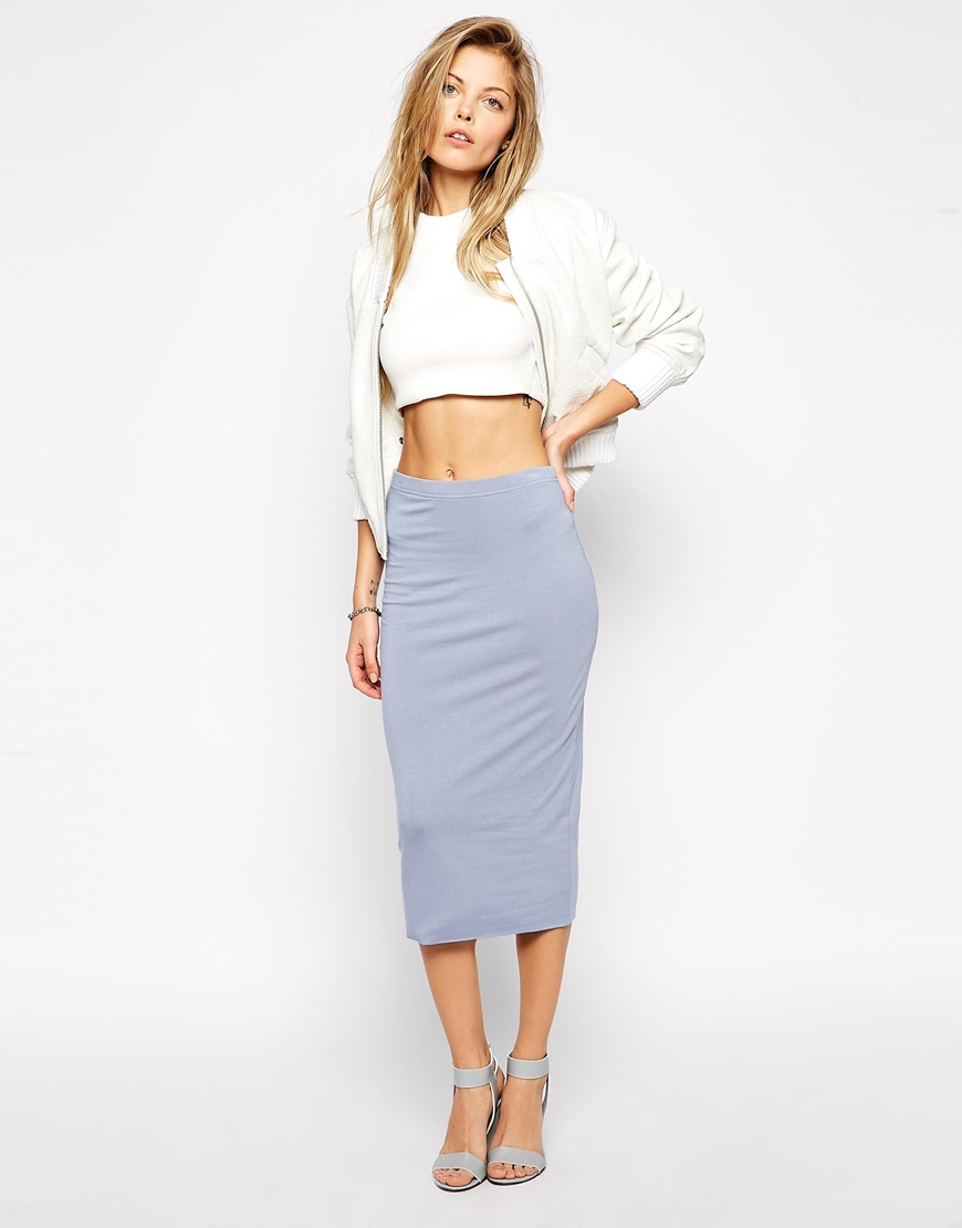asos pencil skirt in layered jersey in blue lyst