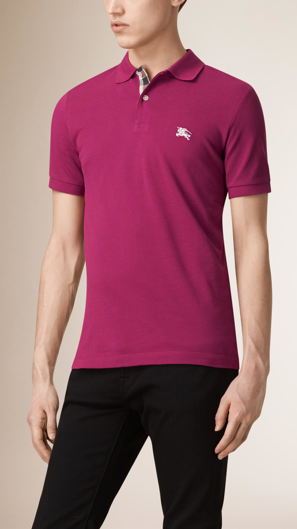 46df537a89d92 Burberry Check Placket Polo Shirt in Pink for Men - Lyst