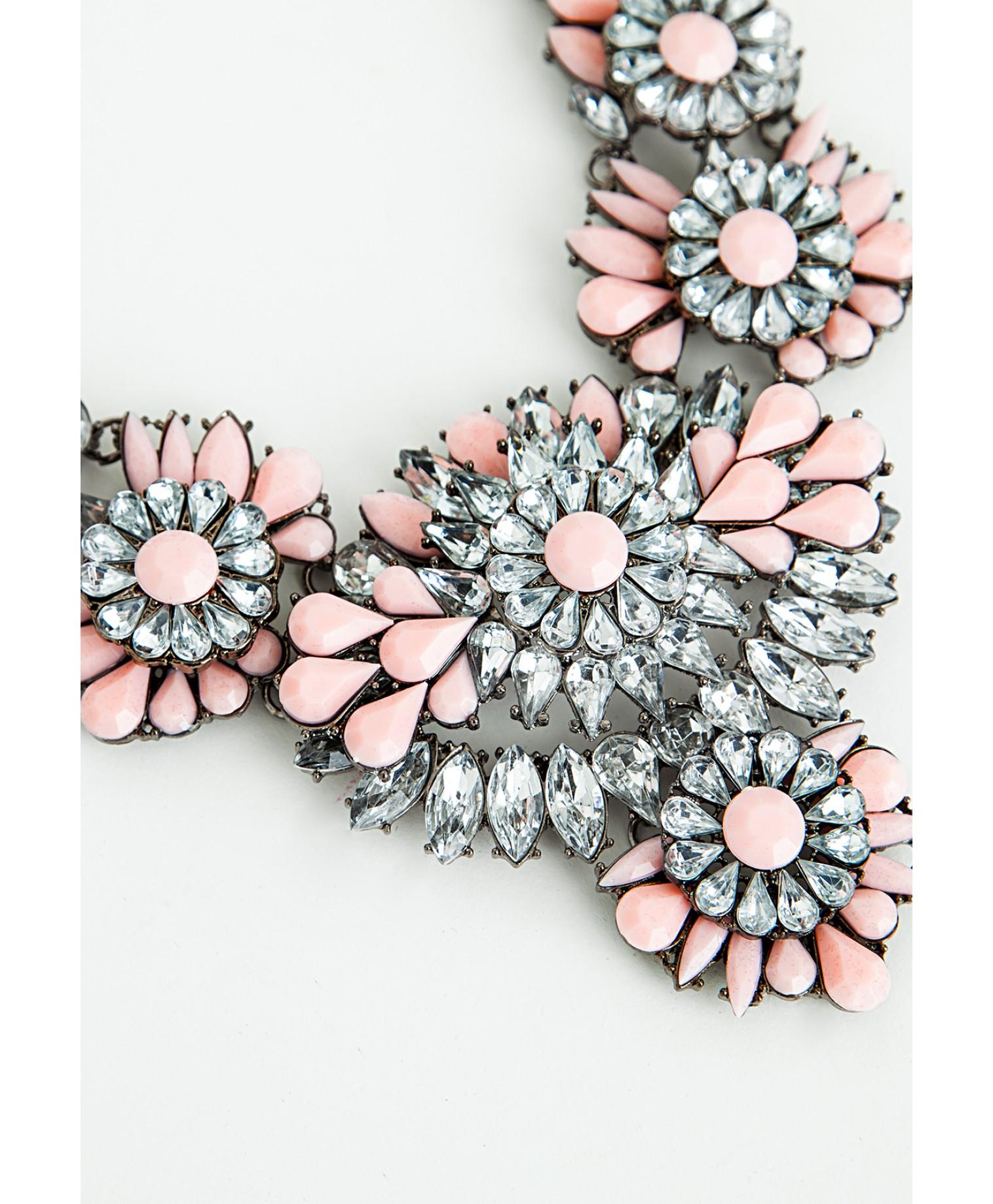 Missguided Ravenna Floral Gem Detail Statement Necklace Blush in ...