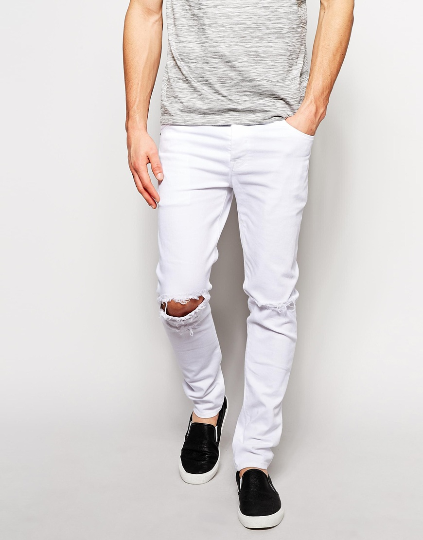 Asos Skinny Jeans With Knee Rips in White for Men | Lyst