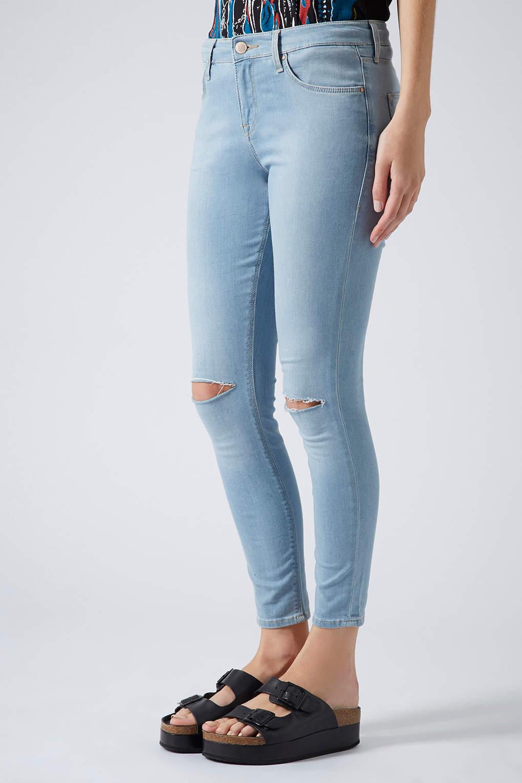 13c1fe4438b TOPSHOP Petite Moto Rip Bleach Leigh Jeans in Blue - Lyst
