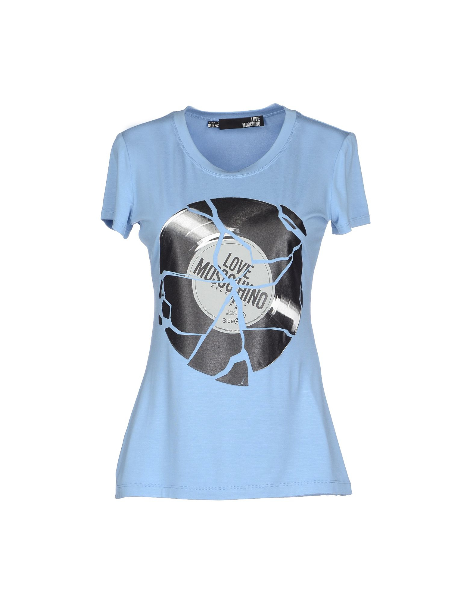 love moschino t shirt in blue sky blue lyst. Black Bedroom Furniture Sets. Home Design Ideas