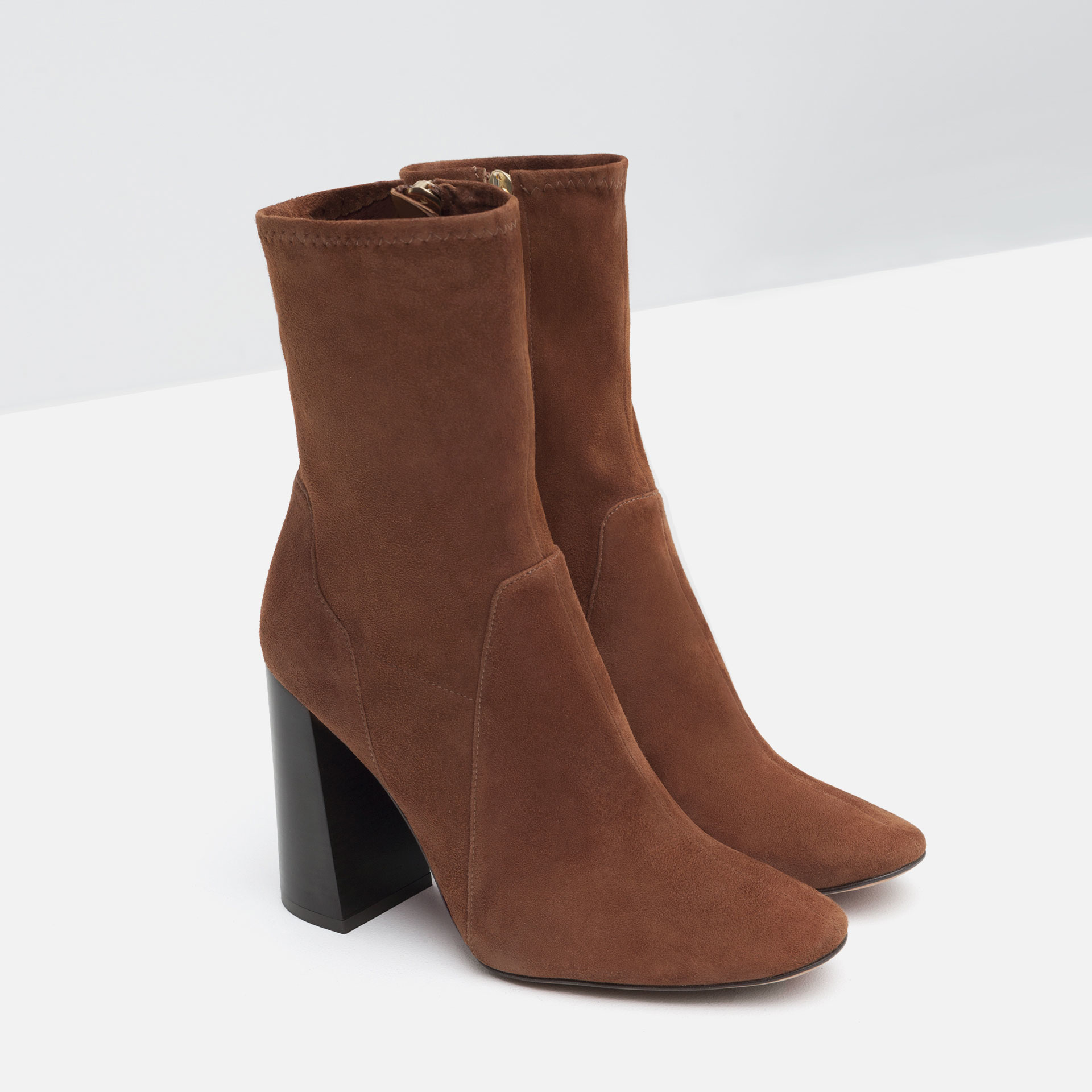 zara leather high heel ankle boots in brown lyst