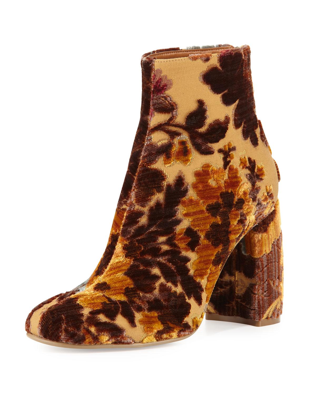 Stella Mccartney Floral Print Velvet Ankle Bootie In Brown