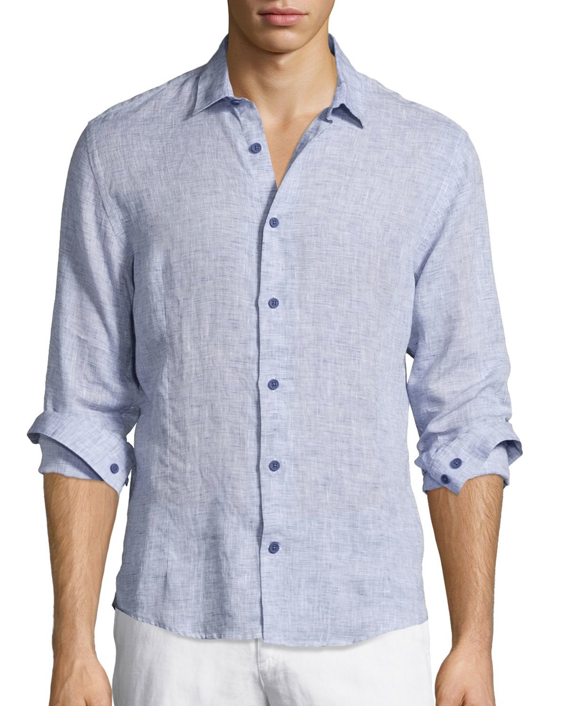 Orlebar brown morton long sleeve linen shirt in blue for for Mens light blue linen shirt