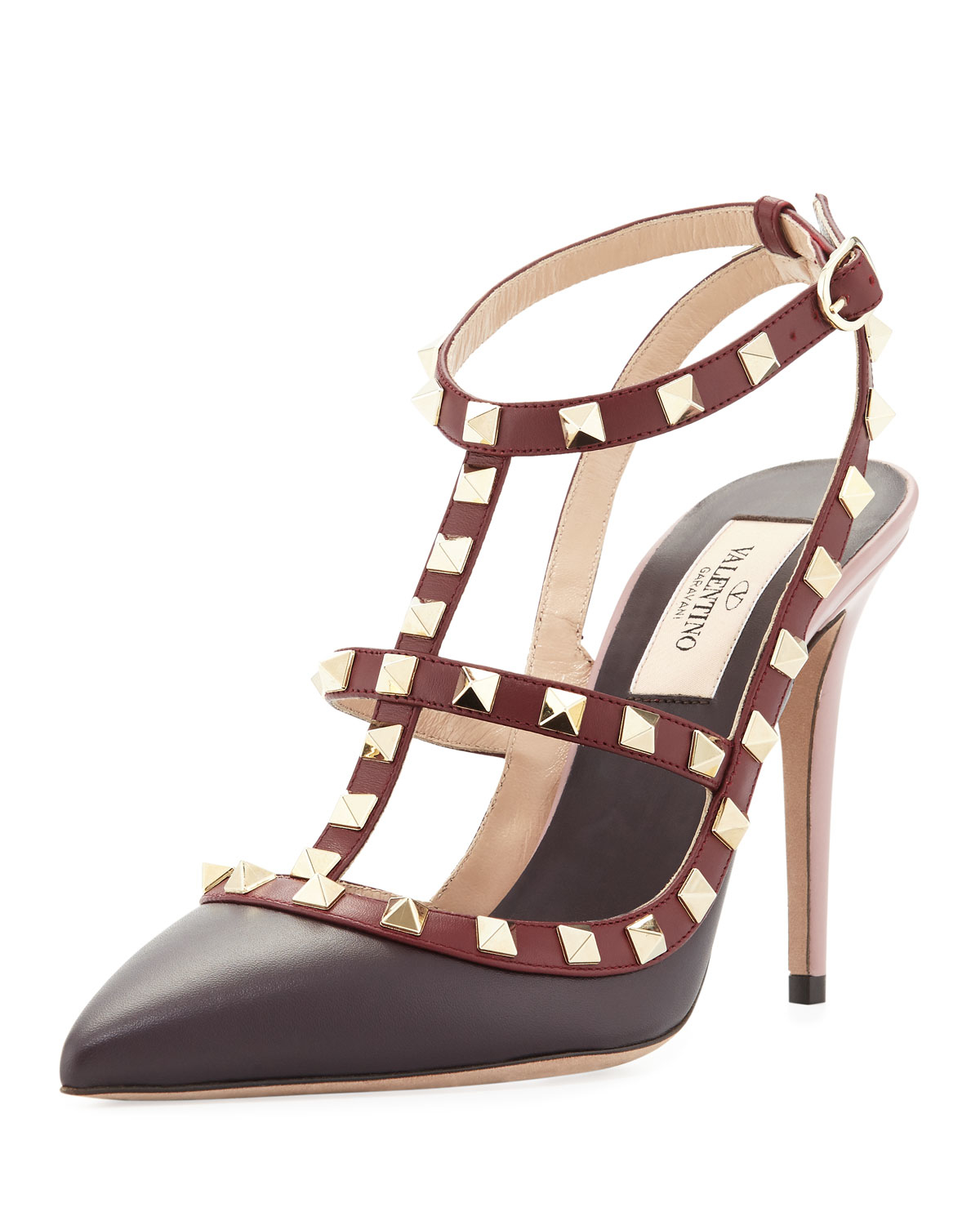 Lyst - Valentino Rockstud Color-Blocked Leather Sandal in Red