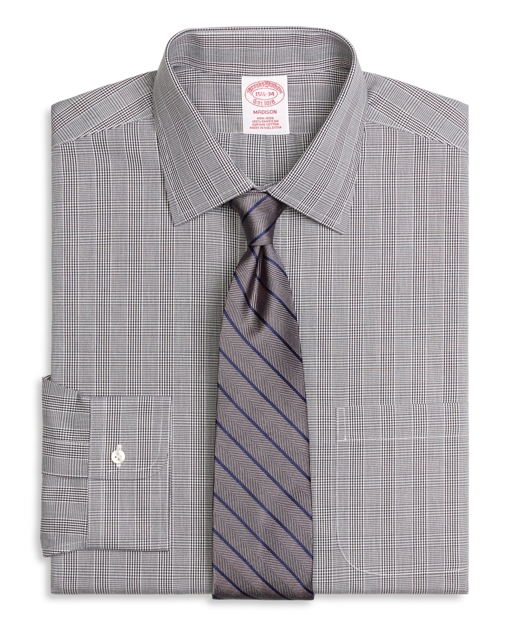 Lyst brooks brothers non iron madison fit glen plaid for Brooks brothers dress shirt fit