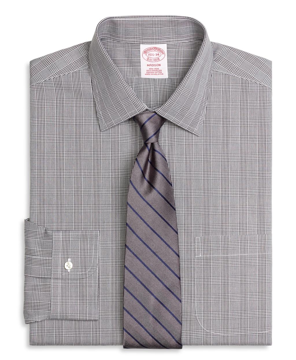 Brooks brothers non iron madison fit glen plaid dress for Brooks brothers non iron shirts review