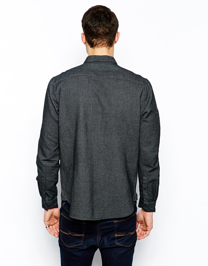 Asos Brushed Twill Shirt In Long Sleeve With Contrast