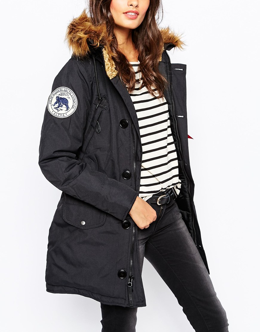 Black Parka Coat With Fur Hood
