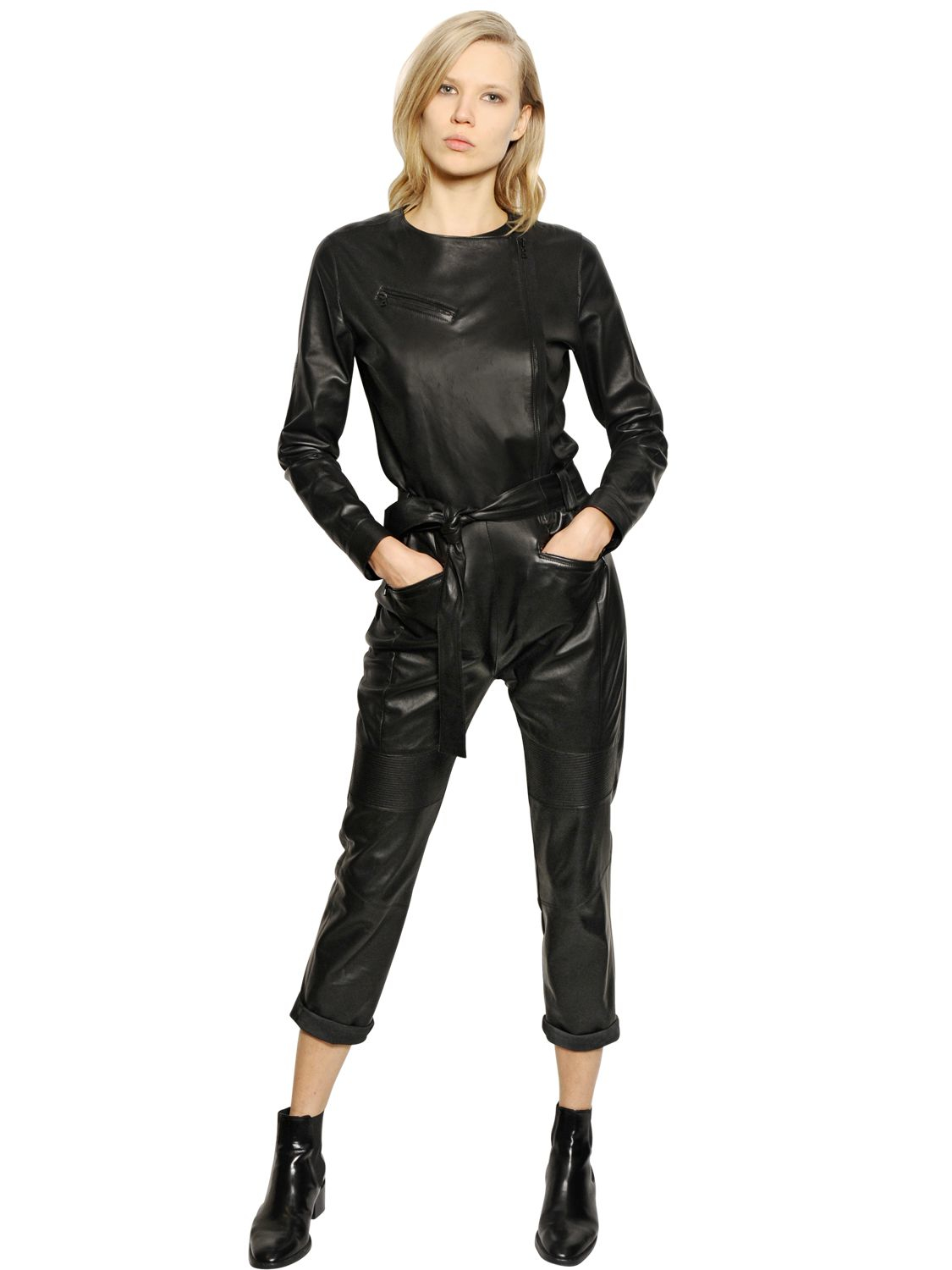 Lyst Each X Other Nappa Leather Jumpsuit In Black