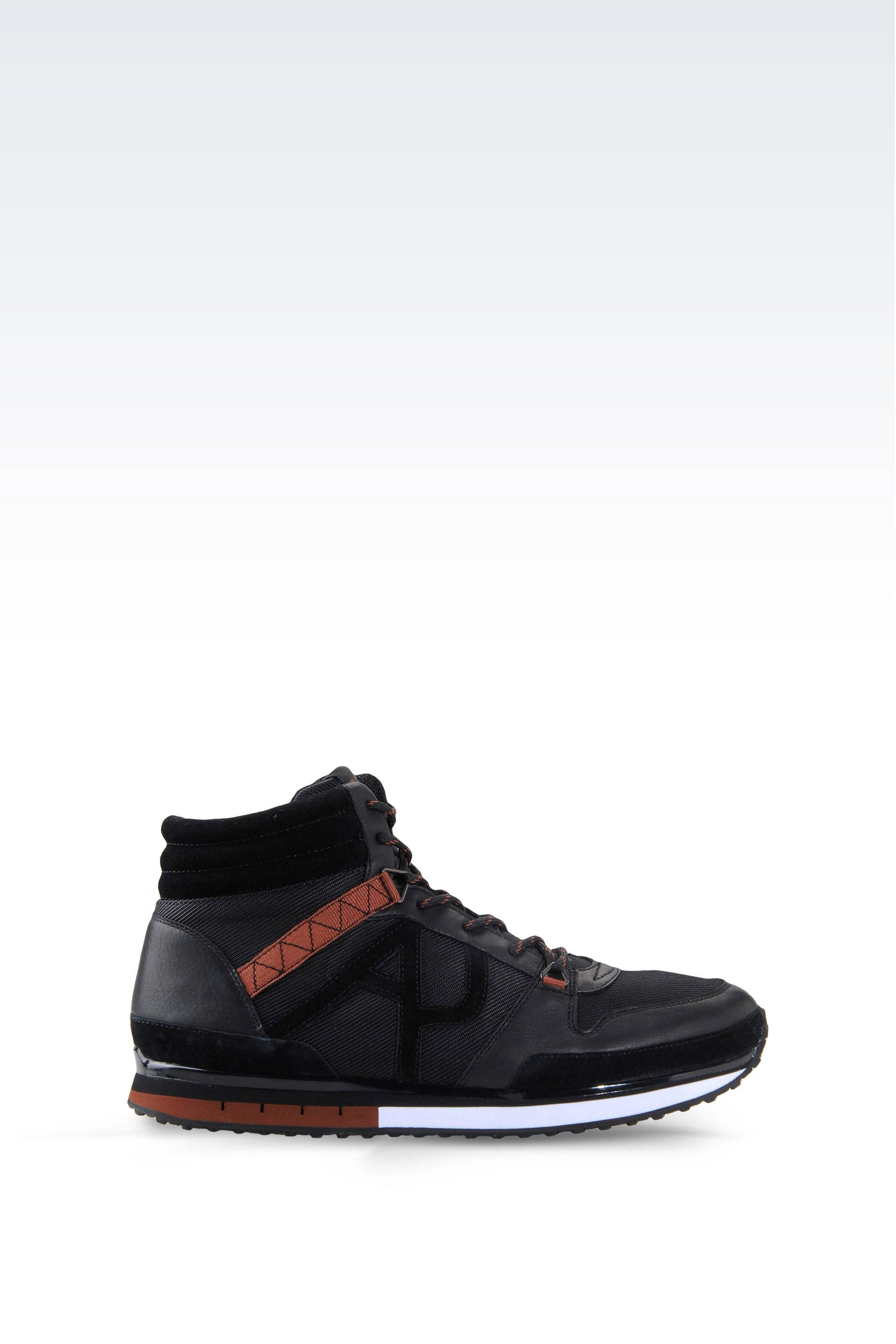 armani jeans high top sneaker in suede and technical fabric in black for men lyst. Black Bedroom Furniture Sets. Home Design Ideas