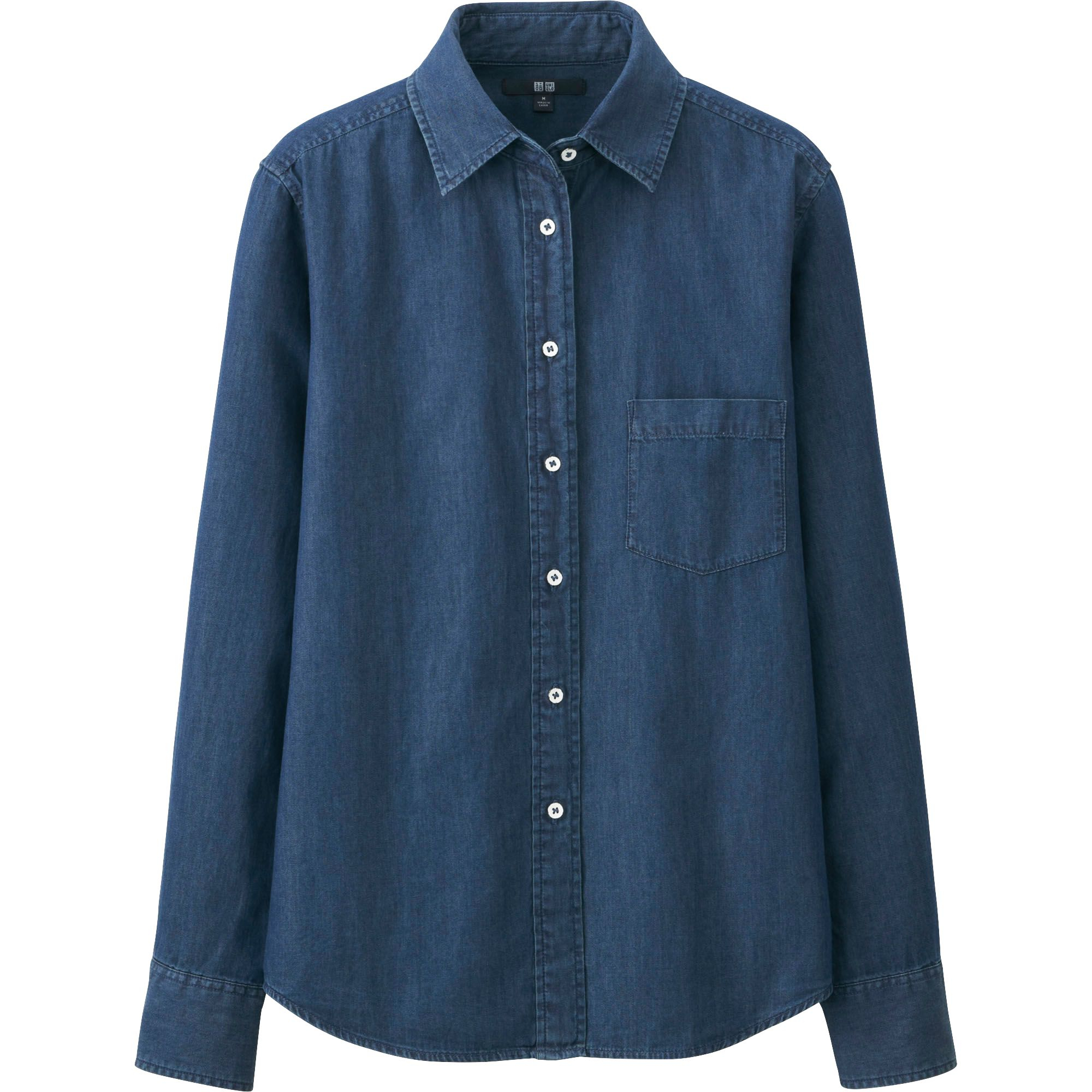 Uniqlo Women Denim Long Sleeve Shirt In Blue For Men Lyst