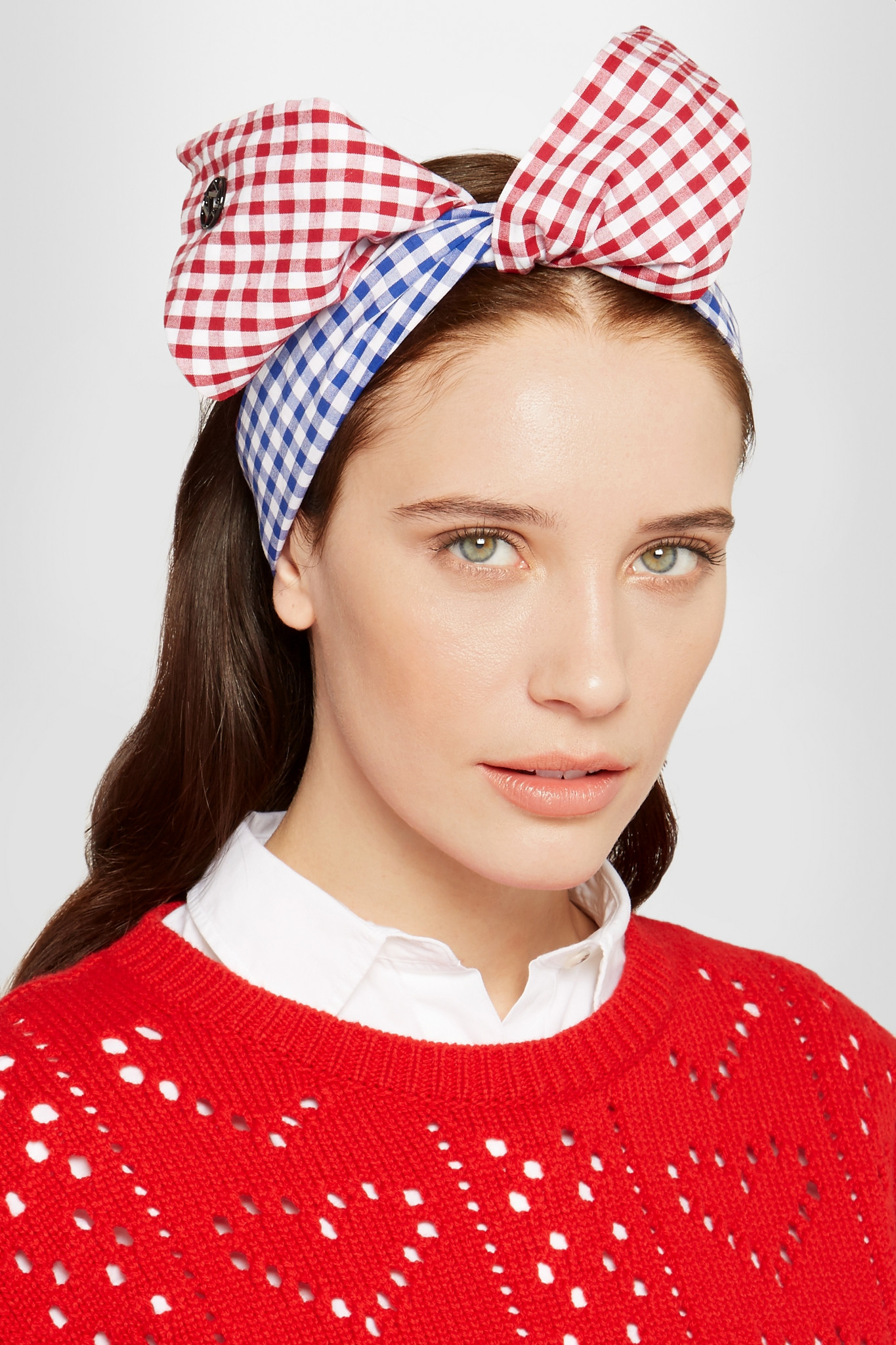 Lyst maison michel gingham knot headband in blue for Maison michel