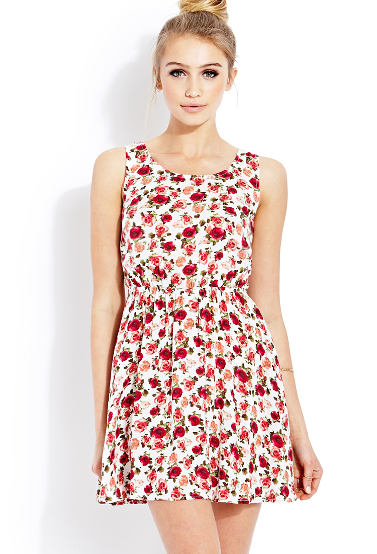 Forever 21 Floral Print Keyhole Dress In Red Lyst