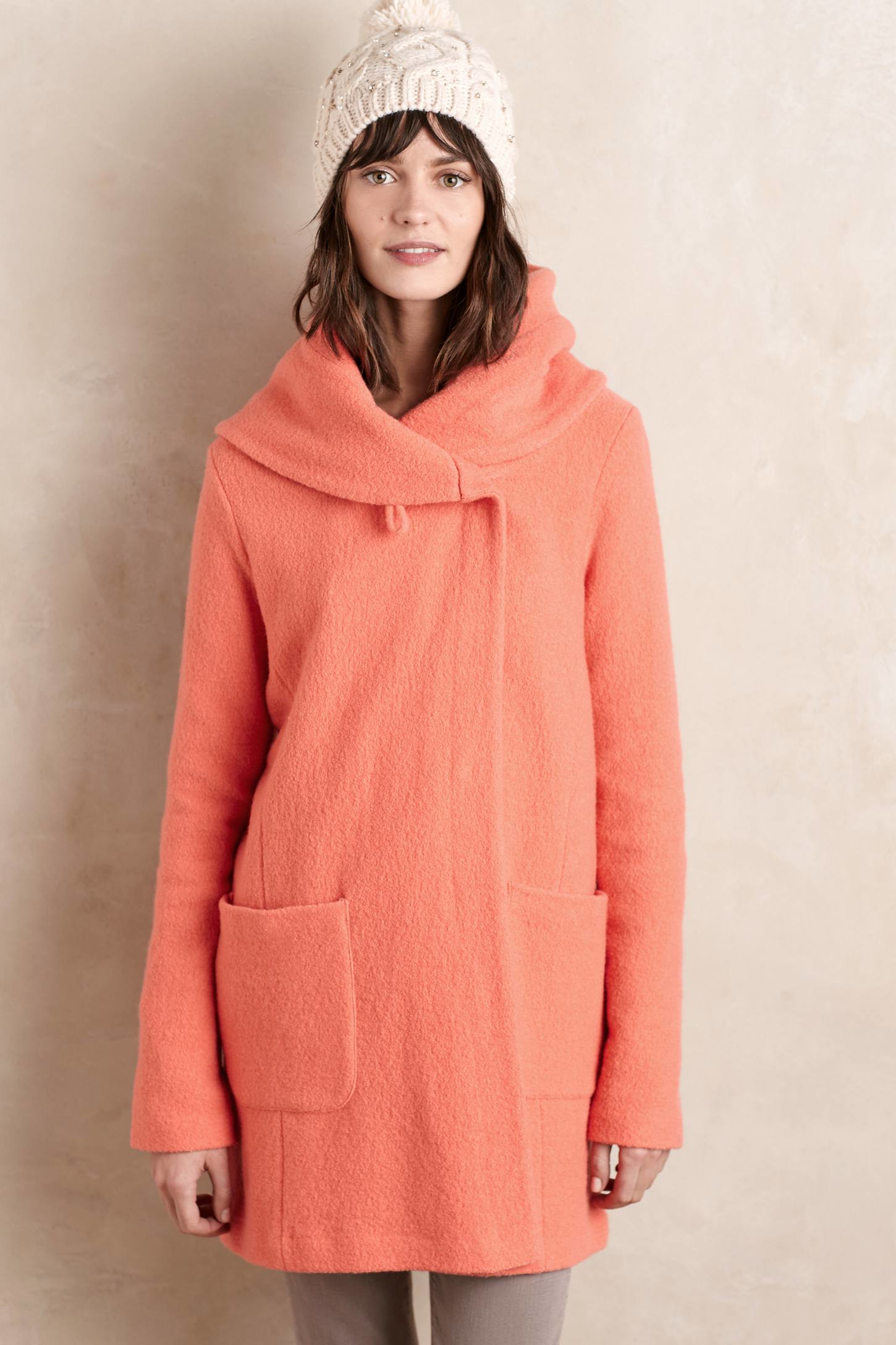 Moth Boiled Wool Sweater Coat in Pink | Lyst