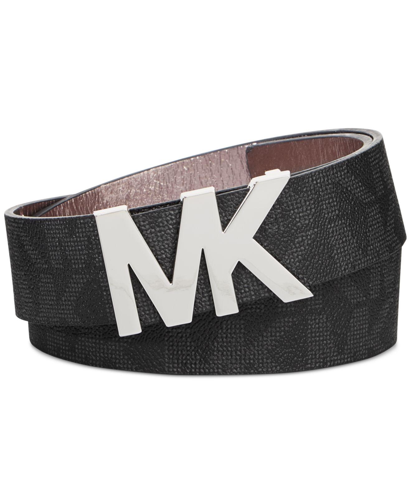 michael kors michael signature belt with mk logo plaque in