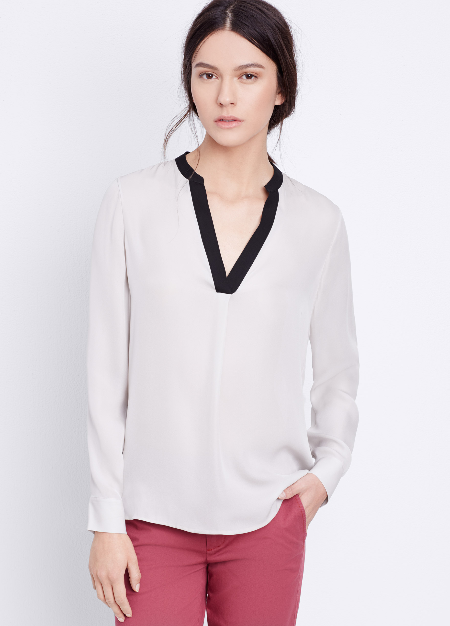 ebe41a300ee90 Vince Long Sleeve Colorblock Silk Popover Blouse in Black - Lyst