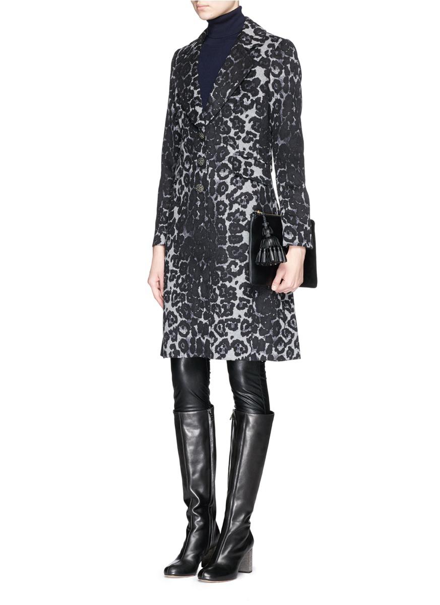 Lyst St John Leopard Print Felted Wool Coat In Black