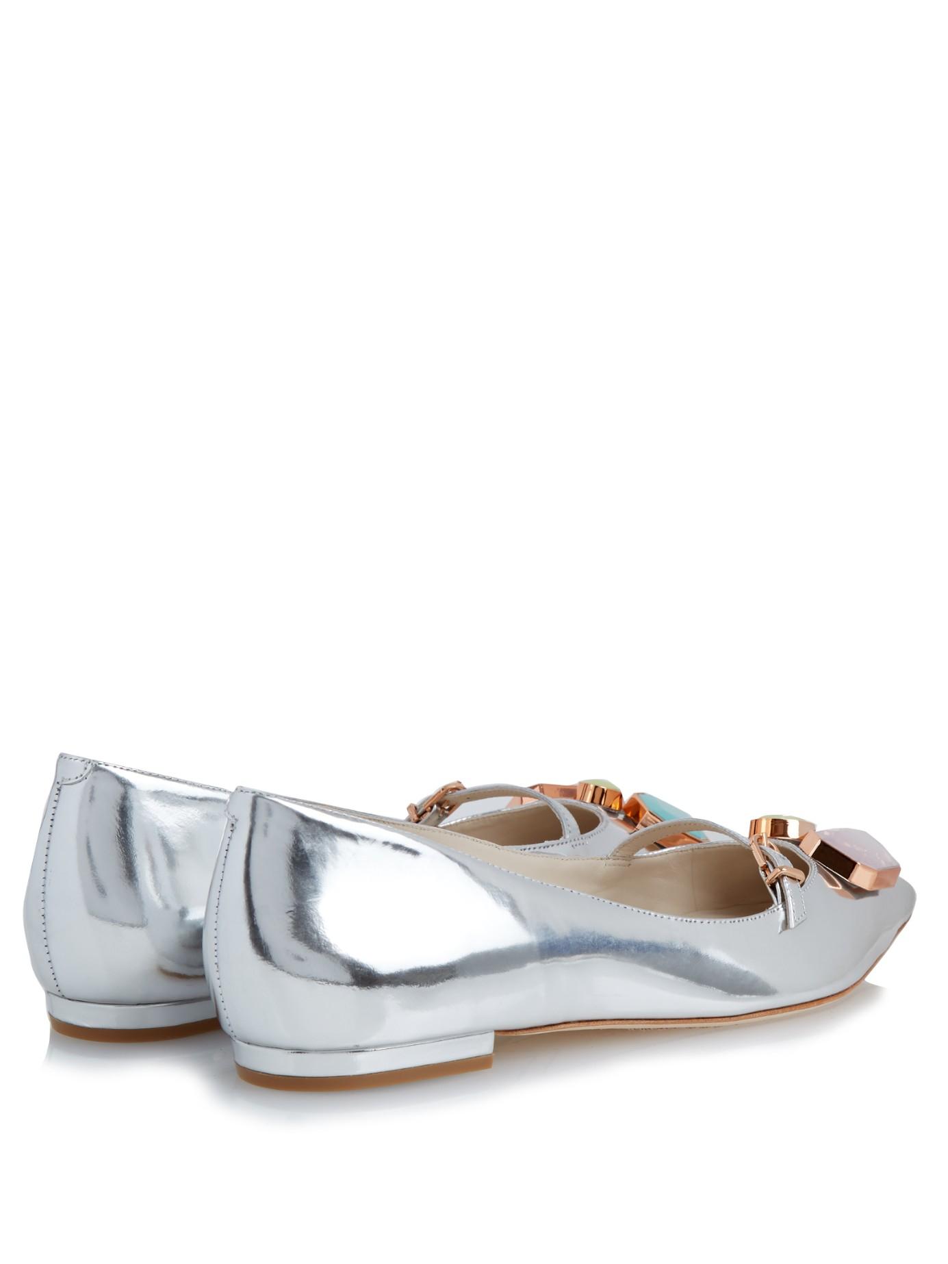 Sophia Webster Embellished Metallic Flats 100% authentic online GO2wO0l