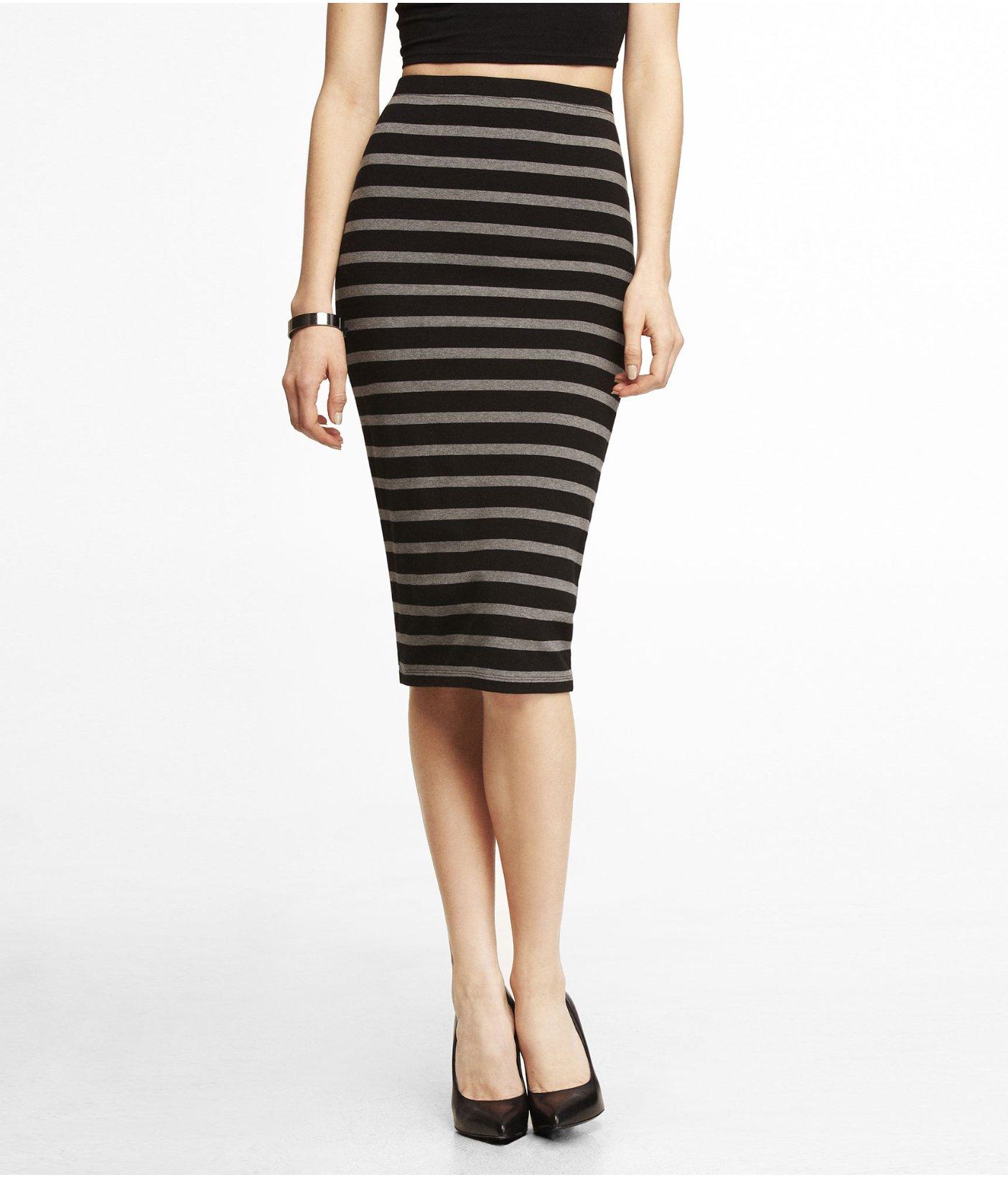 express striped stretch knit midi pencil skirt in gray lyst