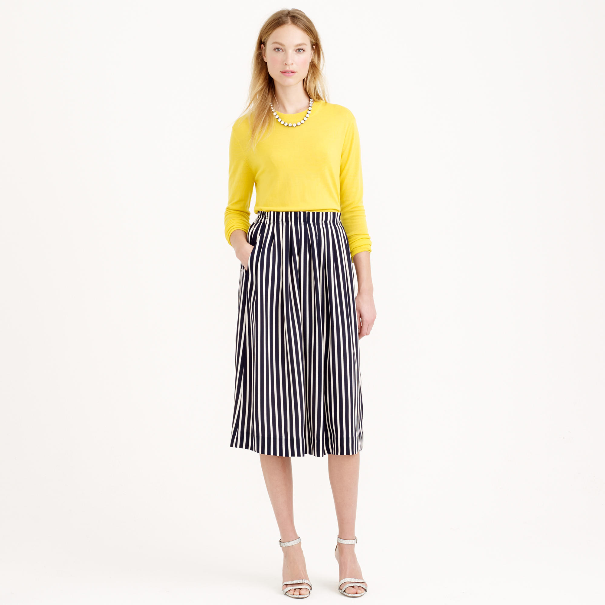 j crew pleated midi skirt in stripe in blue lyst