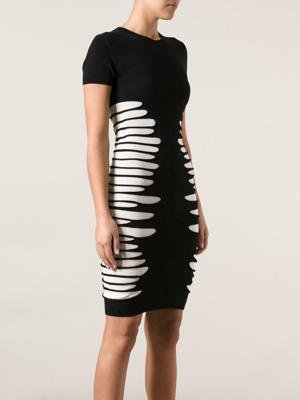 Mcq Ripped Dress In Black Lyst