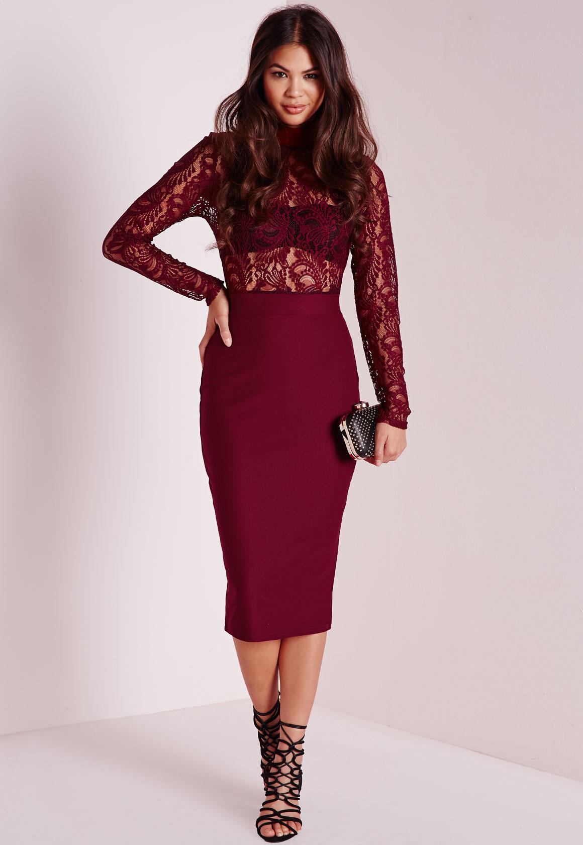 Lyst missguided lace high neck crepe skirt midi dress for Robe de cocktail combiné avec bracelet hipanema bordeaux