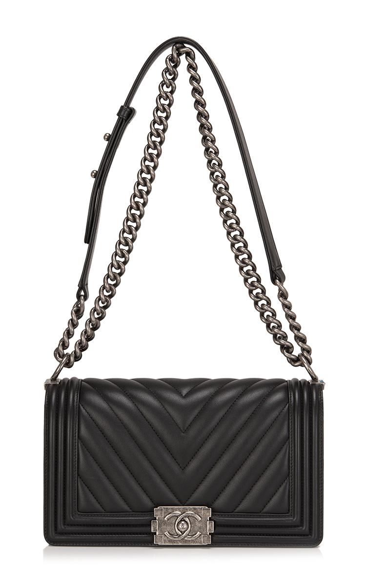 e9cb922419 Madison Avenue Couture Chanel Black Chevron Medium Boy Bag in Black ...
