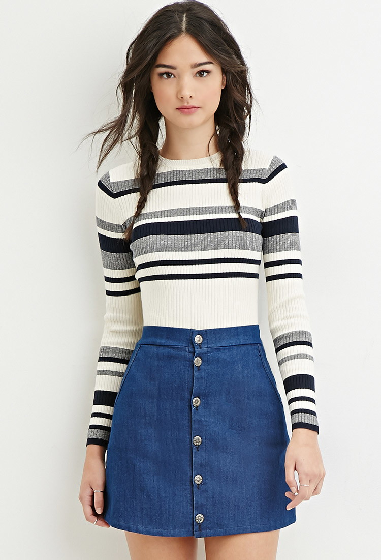Forever 21 Cropped Stripe Sweater in Natural | Lyst