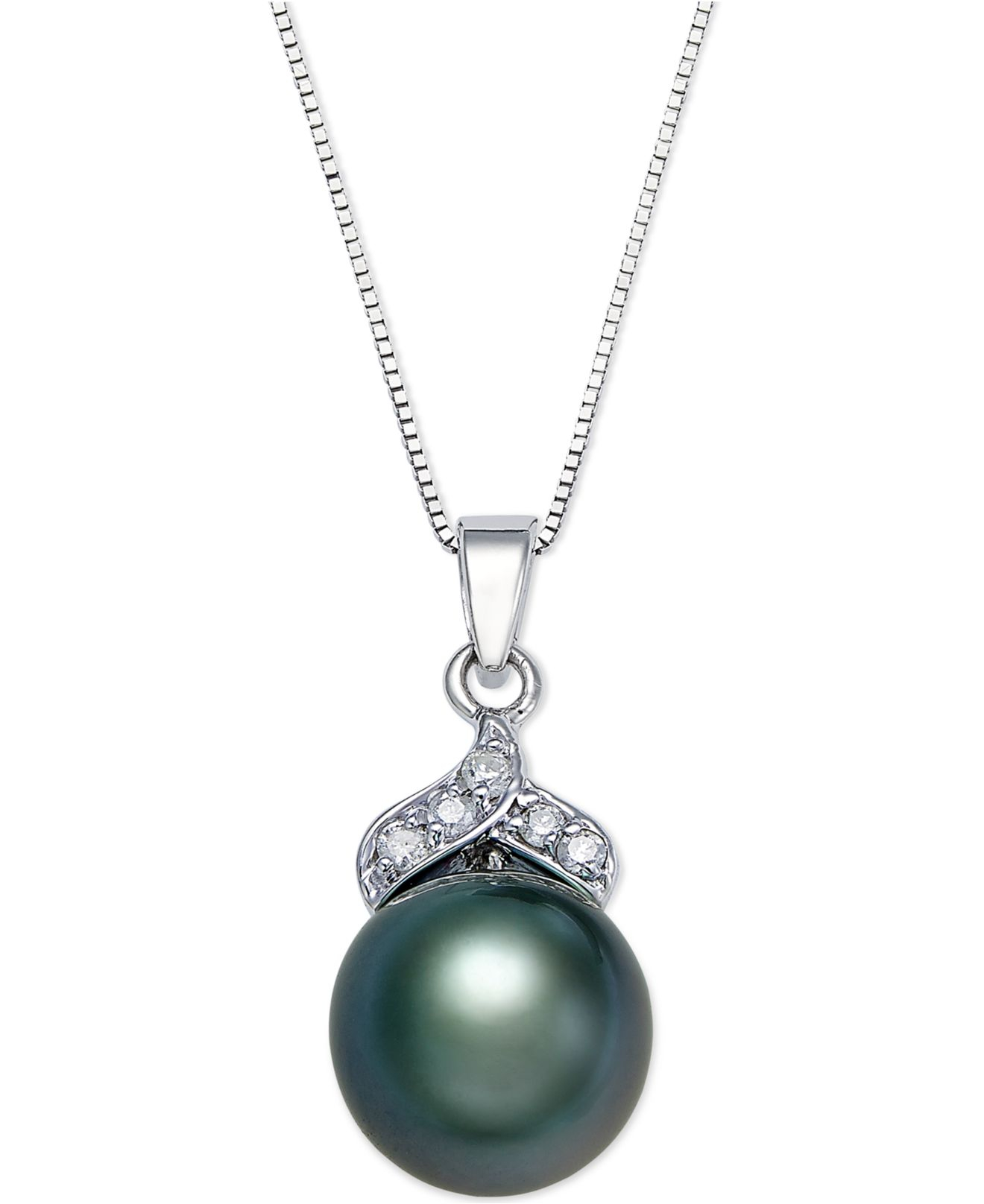 pearl bracelet macys macy s tahitian pearl 9mm and accent pendant 4510
