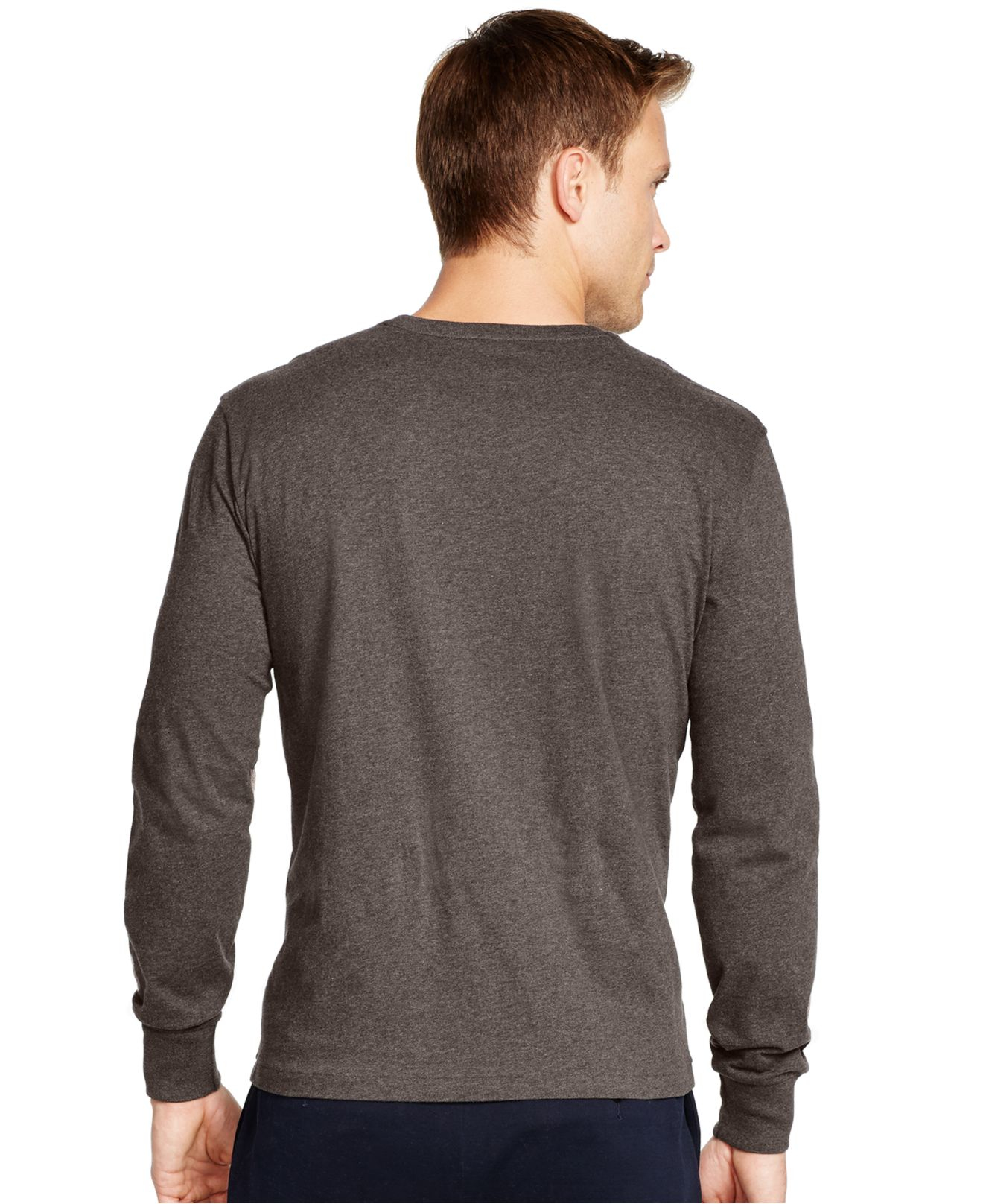 polo ralph lauren long sleeved jersey pocket crewneck in gray for men dark charcoal heather lyst. Black Bedroom Furniture Sets. Home Design Ideas