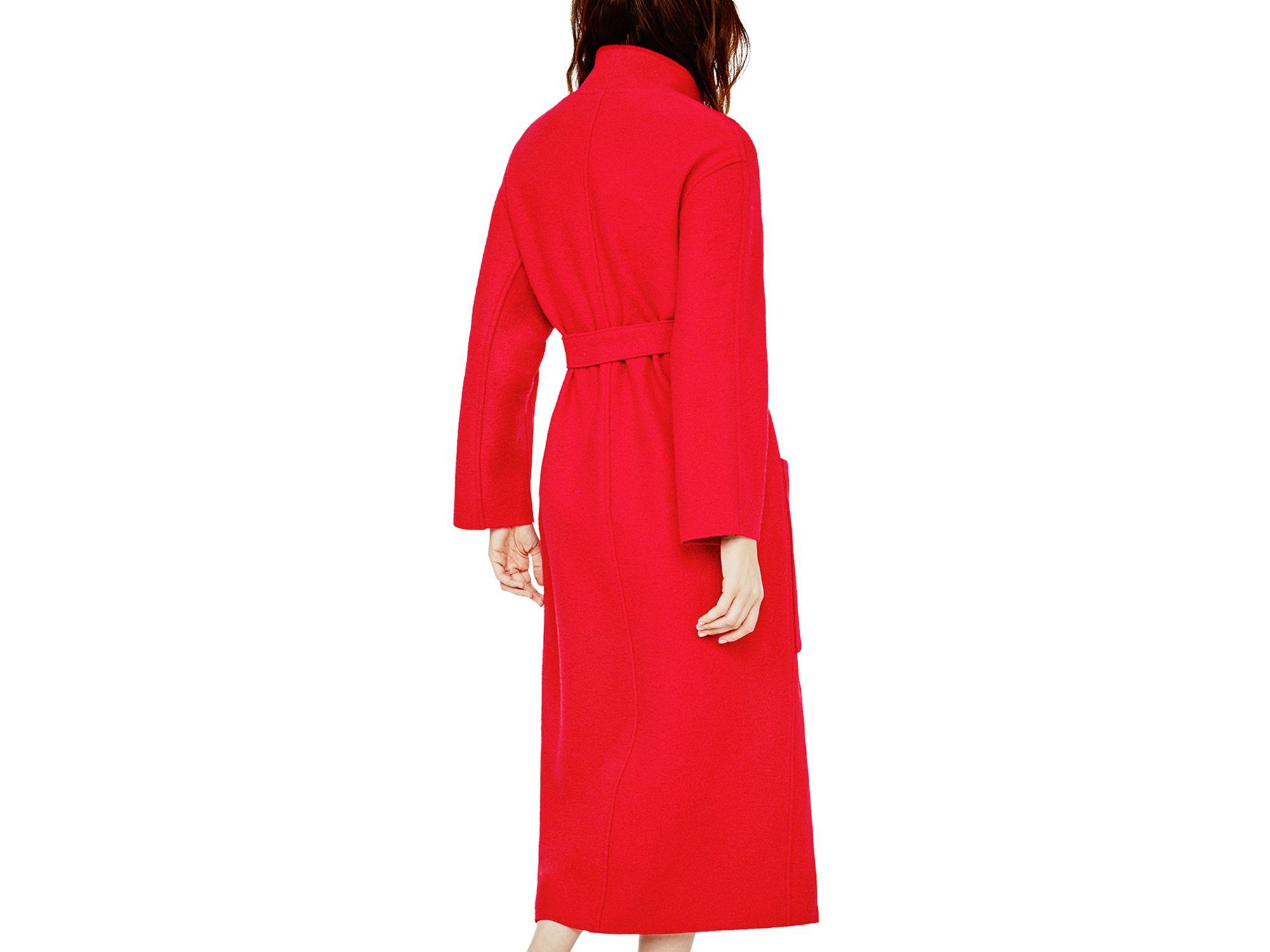 Maje Grenat Wool Wrap Coat in Red | Lyst
