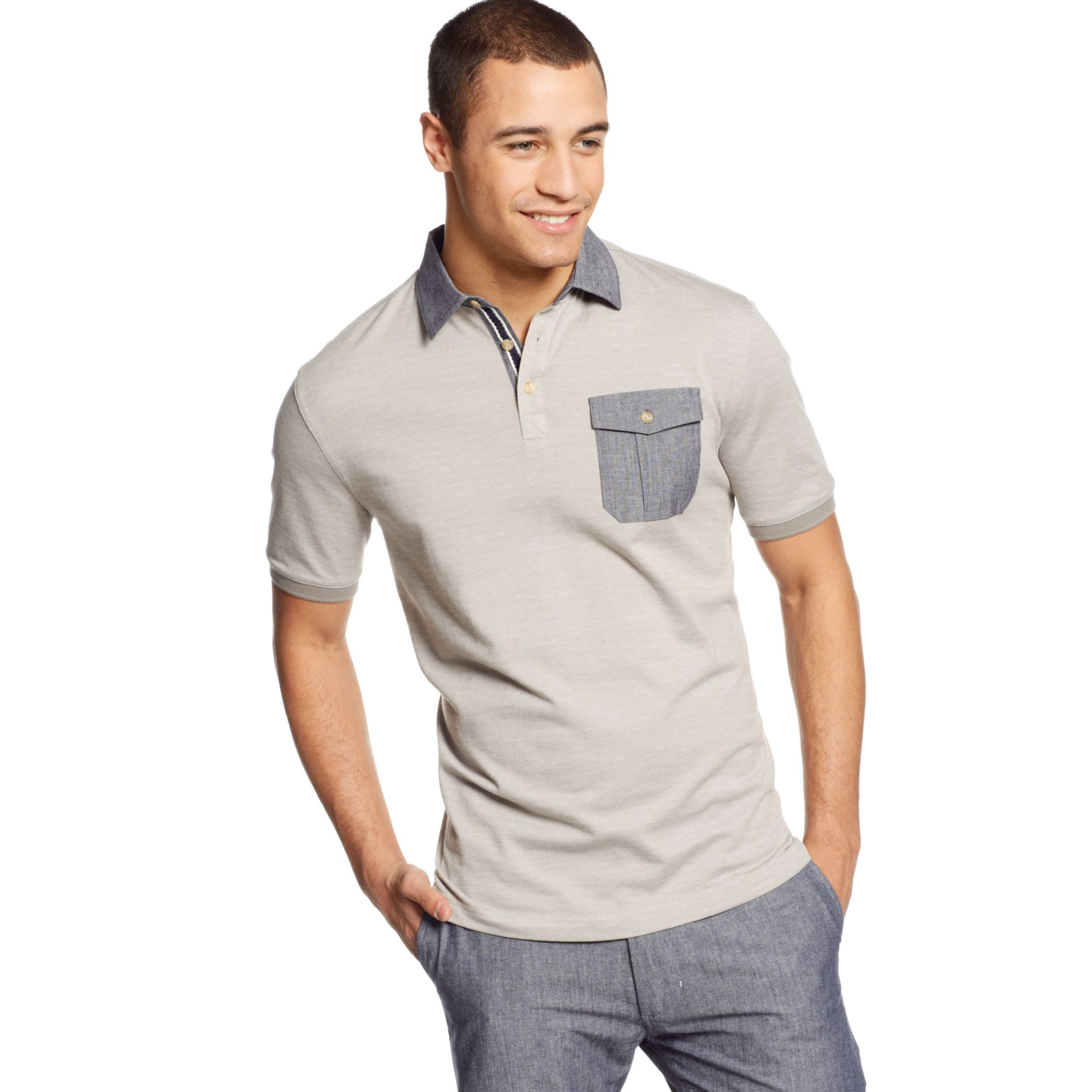 Lyst sean john woven collar polo shirt in gray for men for Sean john t shirts for mens