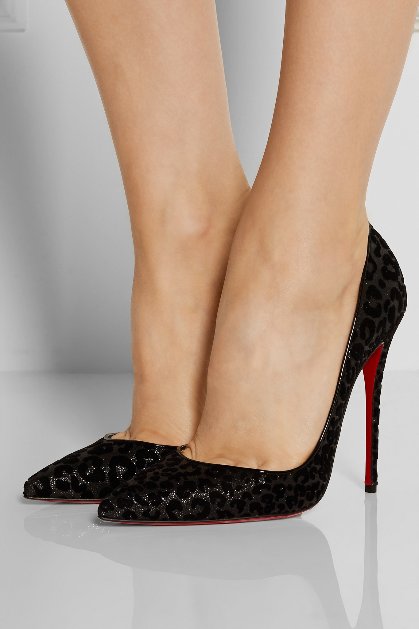 24c92e46be Christian Louboutin Iriza 120 Flocked Glittered Leather Pumps in ...