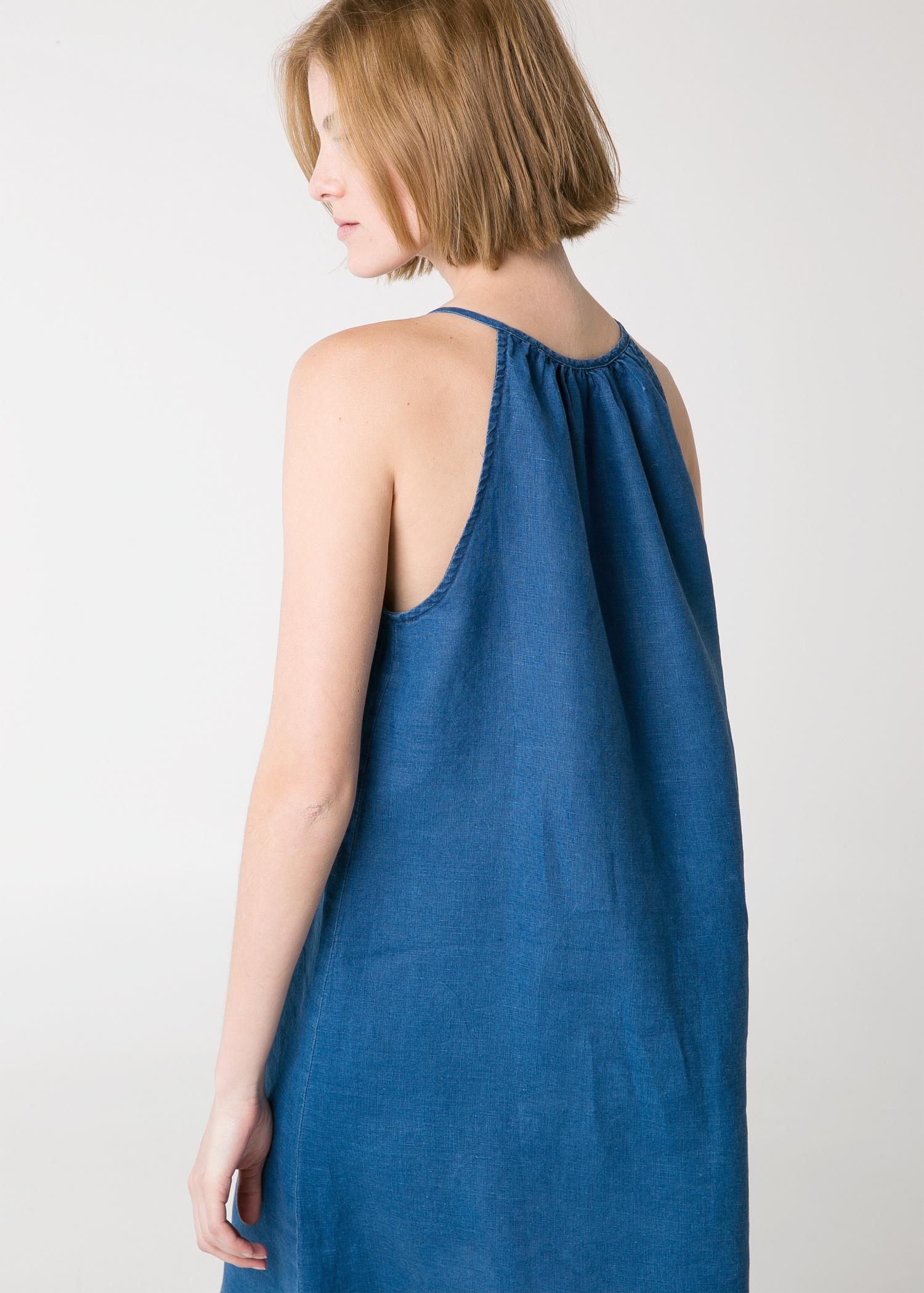 Lyst Mango Linen Halter Dress In Blue