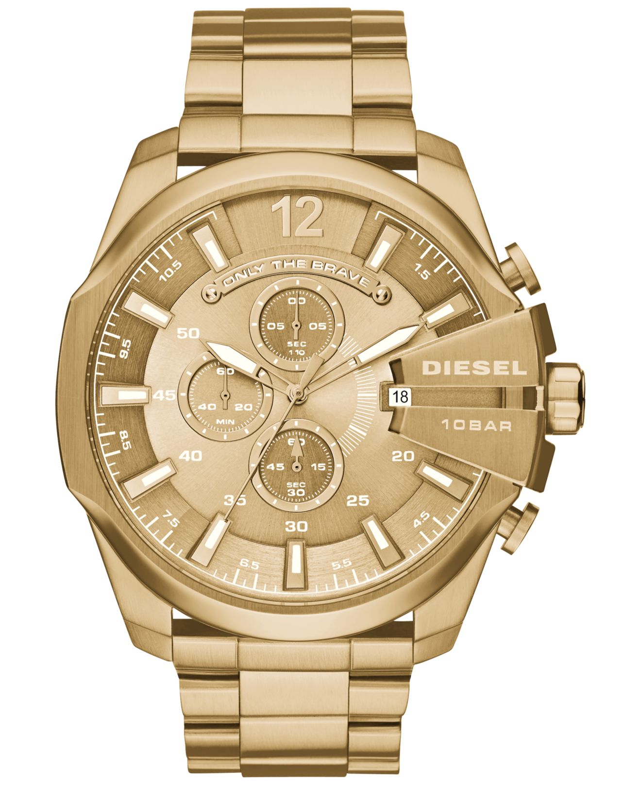 diesel s chronograph mega chief gold tone stainless